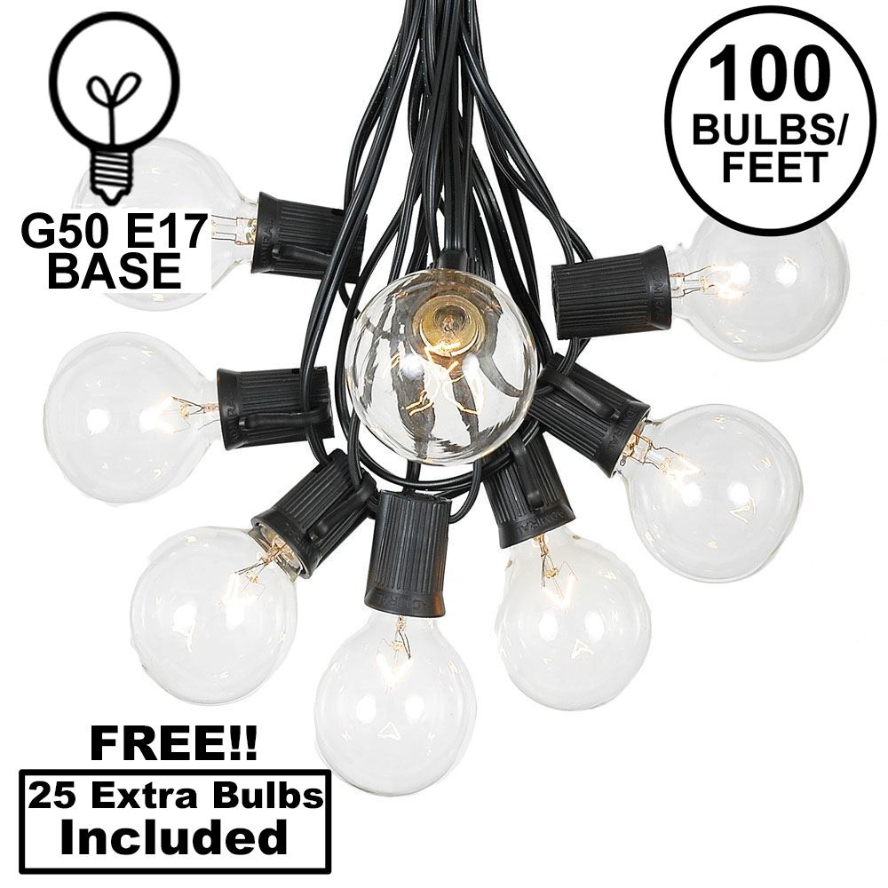 Picture of 100 G50 Globe Light String Set with Clear Bulbs on Black Wire