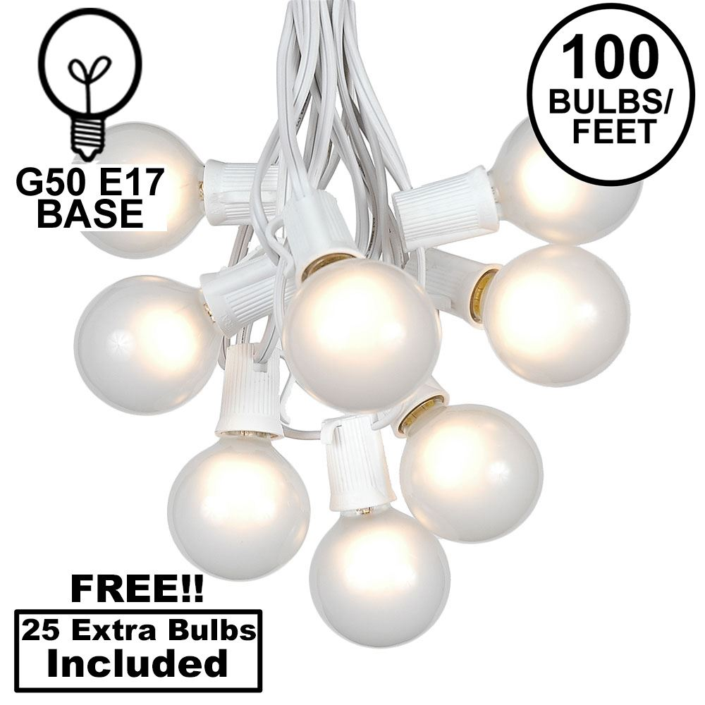 Picture of 100 G50 Globe Light String Set with Frosted White Bulbs on White Wire