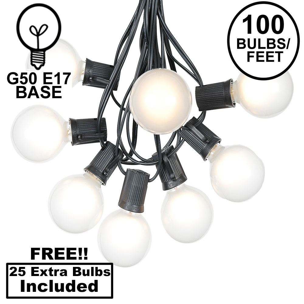 Picture of 100 G50 Globe Light String Set with Frosted Bulbs on Black Wire