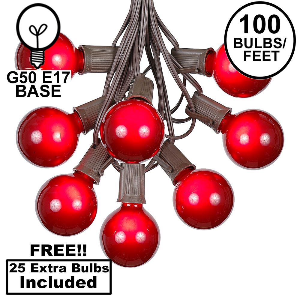 Picture of 100 G50 Globe Light String Set with Red Bulbs on Brown Wire