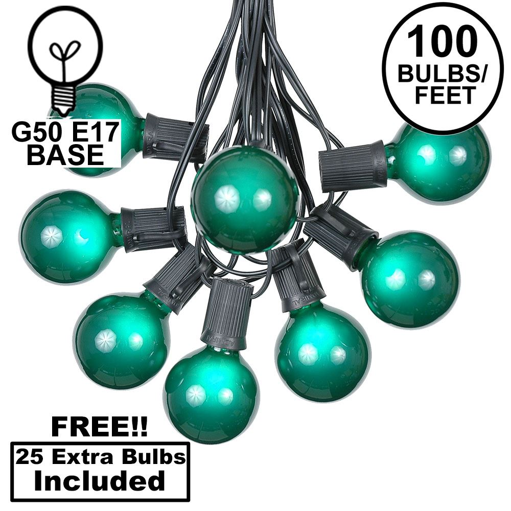 Picture of 100 G50 Globe Light String Set with Green Bulbs on Black Wire