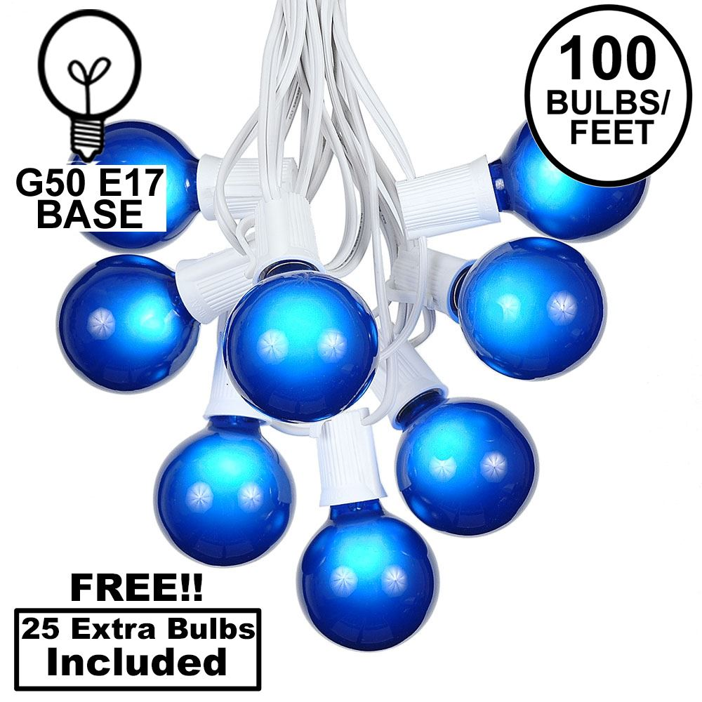 Picture of 100 G50 Globe Light String Set with Blue Bulbs on White Wire