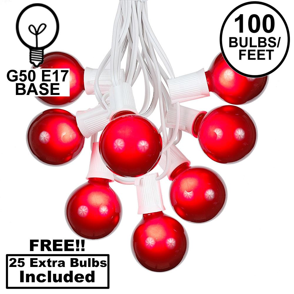 Picture of 100 G50 Globe Light String Set with Red Bulbs on White Wire