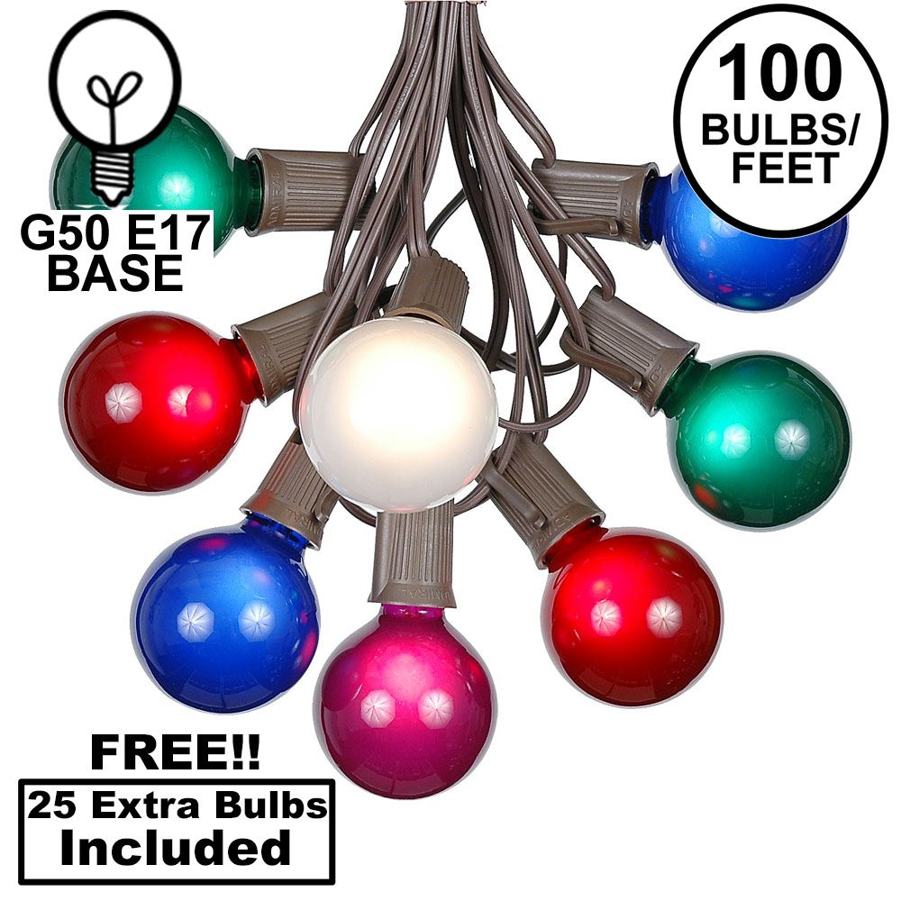 Picture of 100 G50 Globe Light String Set with Assorted Satin Bulbs on Brown Wire