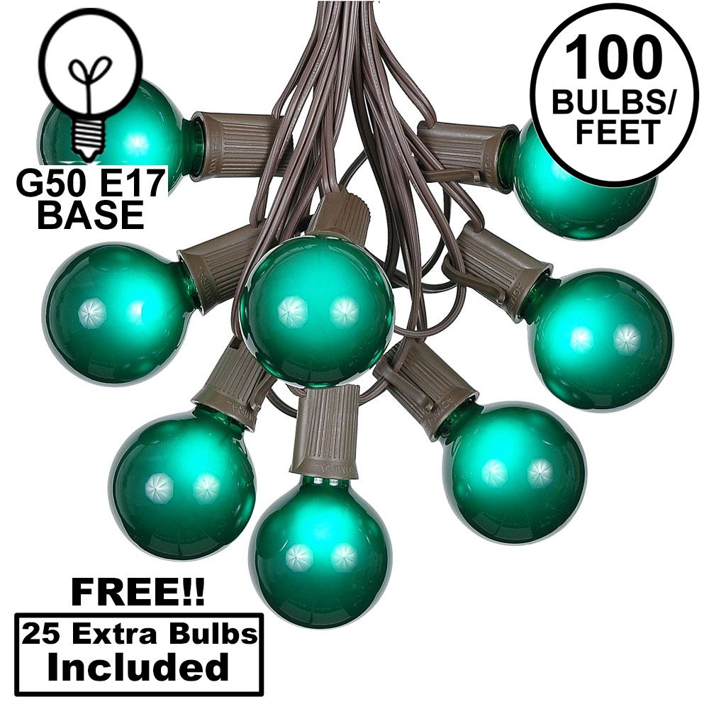 Picture of 100 G50 Globe Light String Set with Green Bulbs on Brown Wire