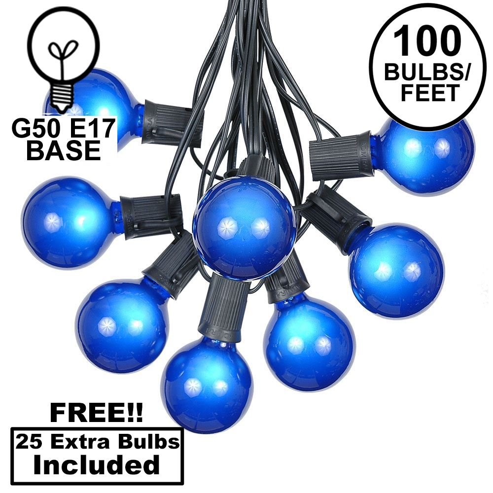 Picture of 100 G50 Globe Light String Set with Blue Bulbs on Black Wire