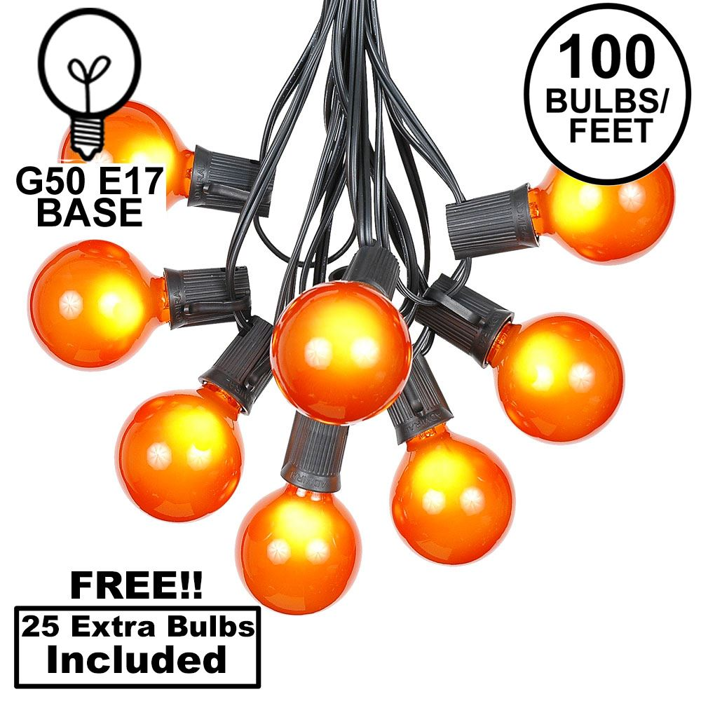 Picture of 100 G50 Globe Light String Set with Orange Bulbs on Black Wire