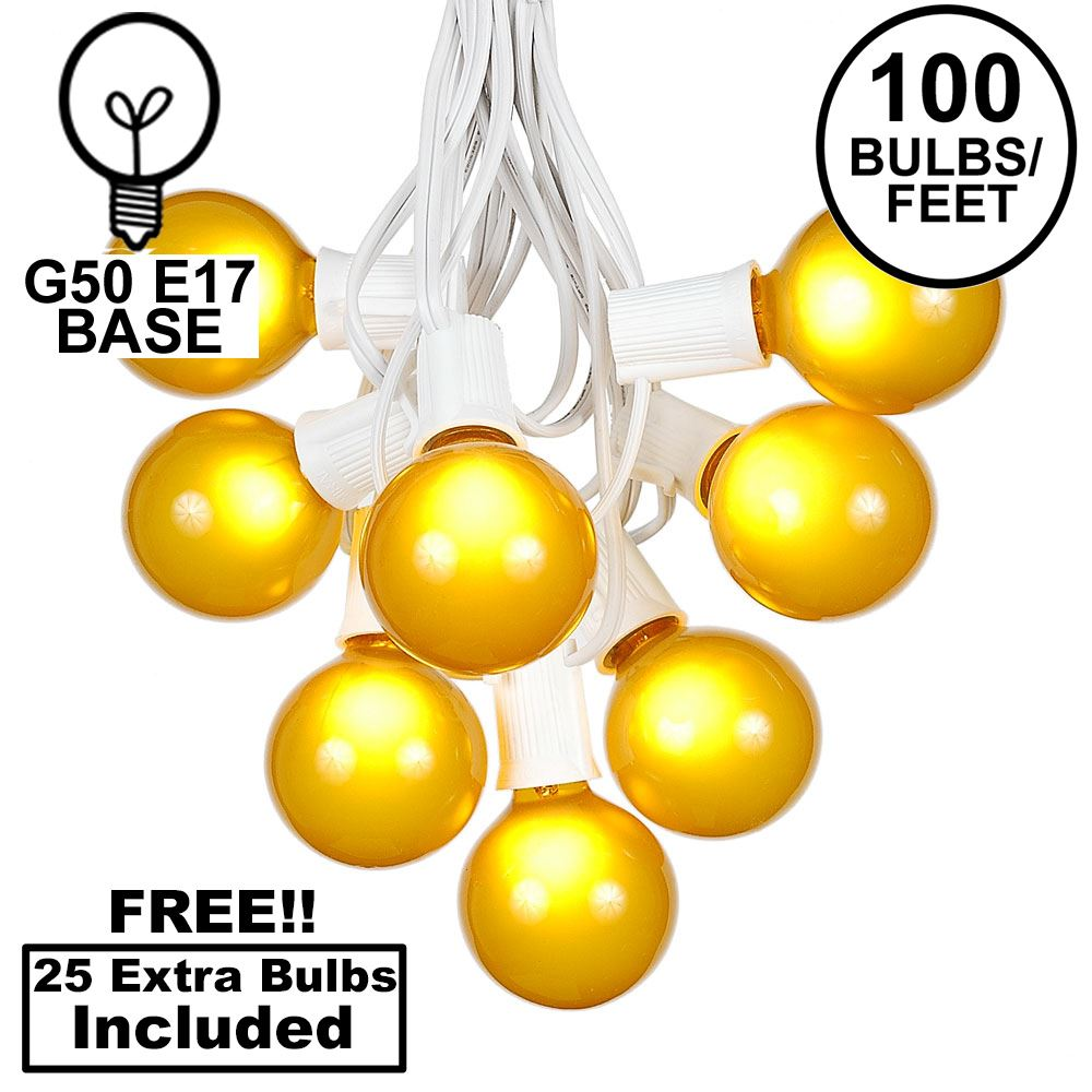 Picture of 100 G50 Globe Light String Set with Yellow Bulbs on White Wire