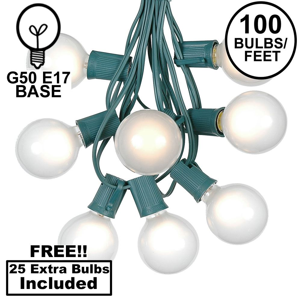Picture of 100 G50 Globe Light String Set with Frosted White on Green Wire
