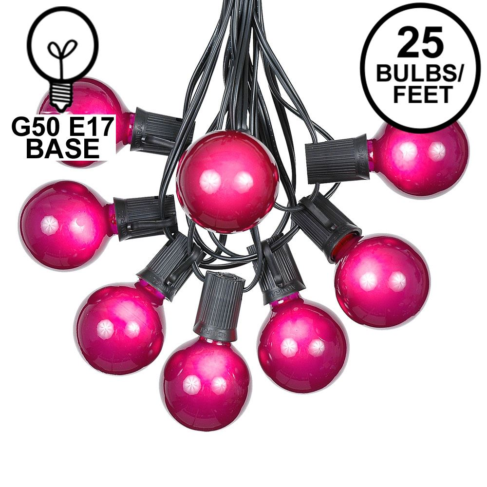 Picture of 25 G50 Globe Light String Set with Purple Bulbs on Black Wire