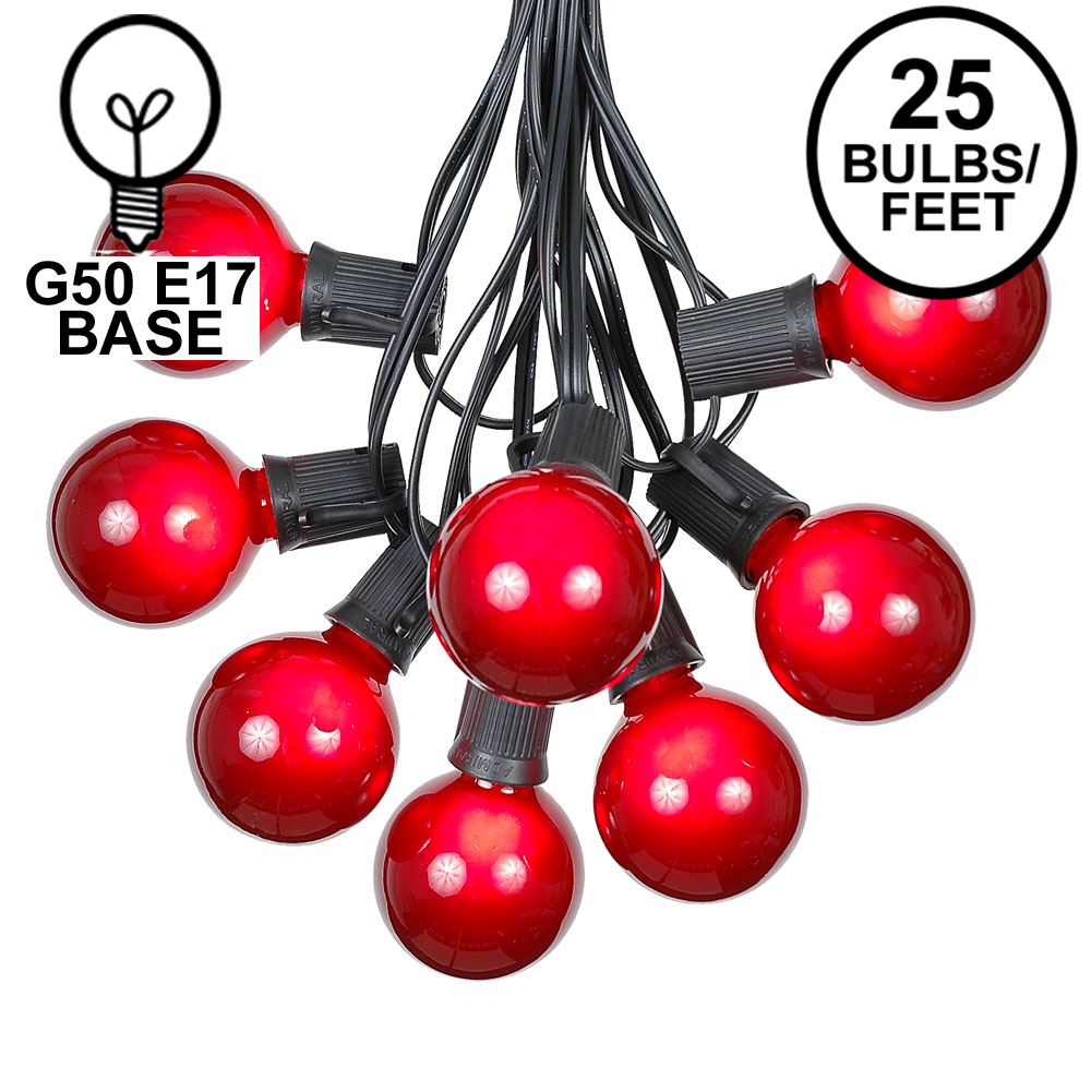 Picture of 25 G50 Globe Light String Set with Red Bulbs on Black Wire