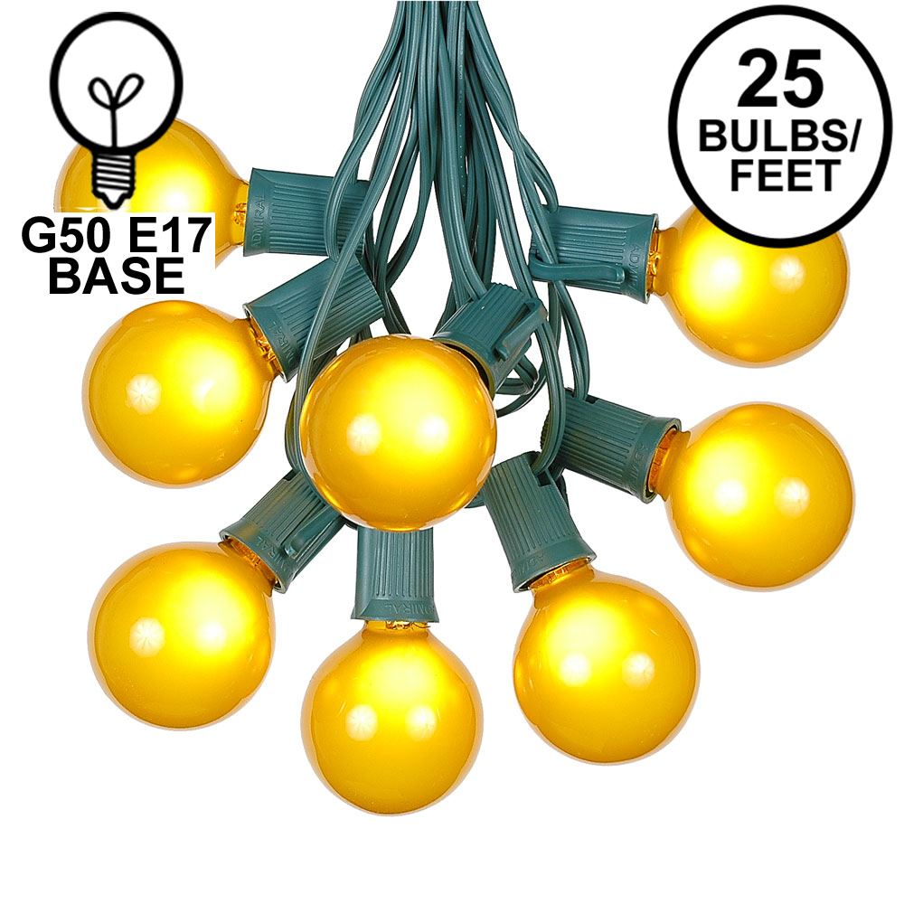 Picture of 25 G50 Globe Light String Set with Yellow (gold) Bulbs on Green Wire