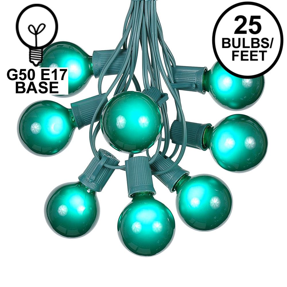 Picture of 25 G50 Globe Light String Set with Green Bulbs on Green Wire