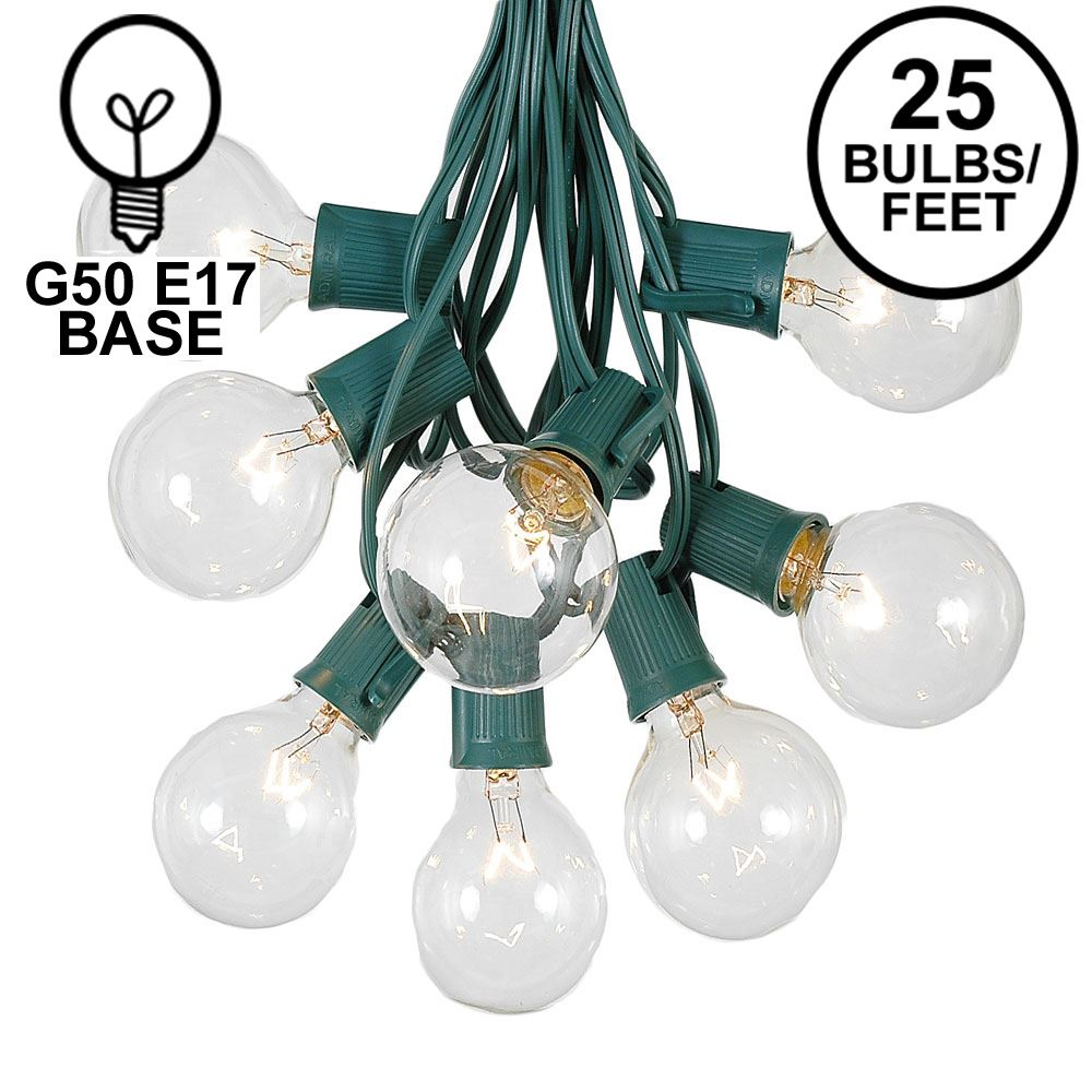 Picture of 25 G50 Globe Light String Set with Clear Bulbs on Green Wire