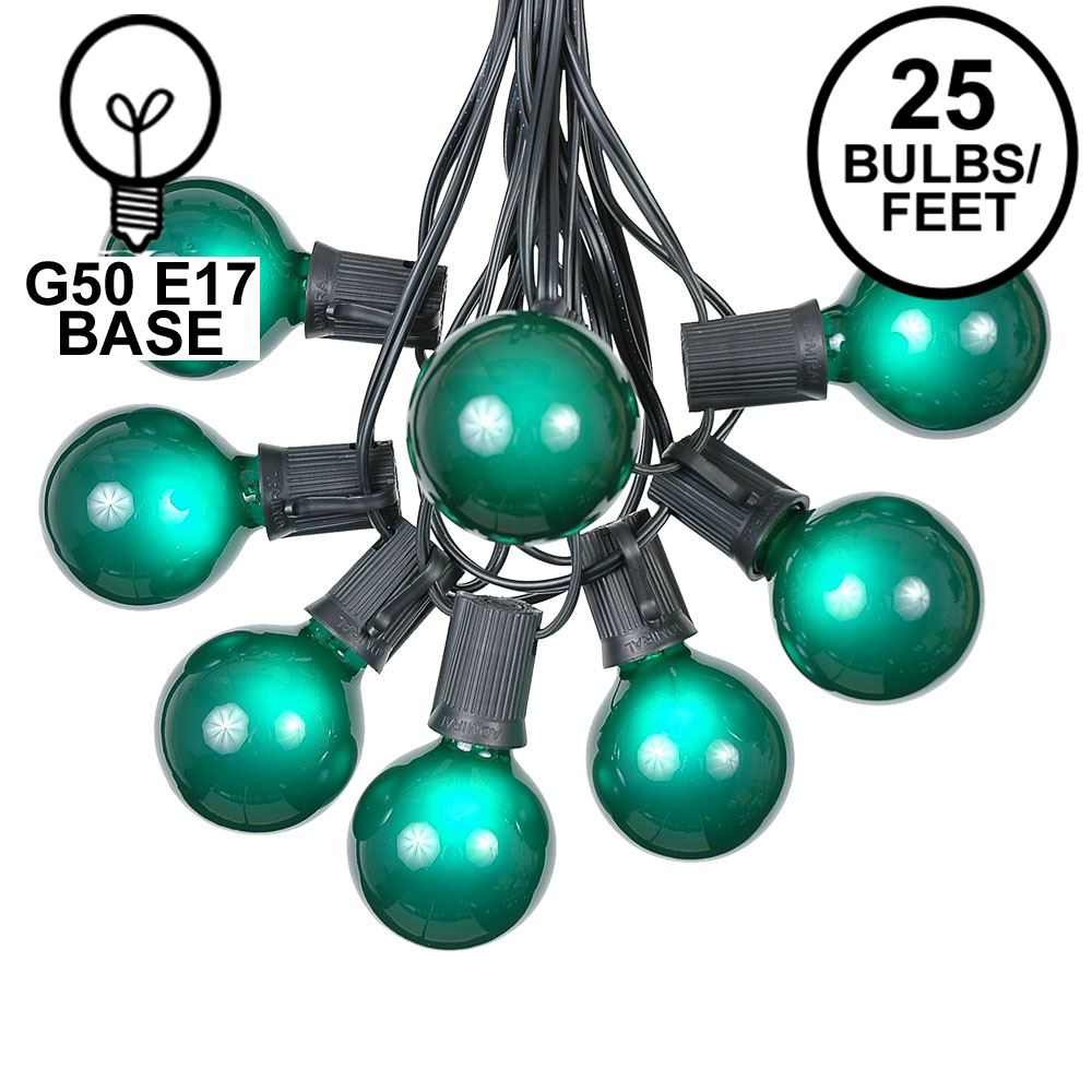 Picture of 25 G50 Globe Light String Set with Green Bulbs on Black Wire