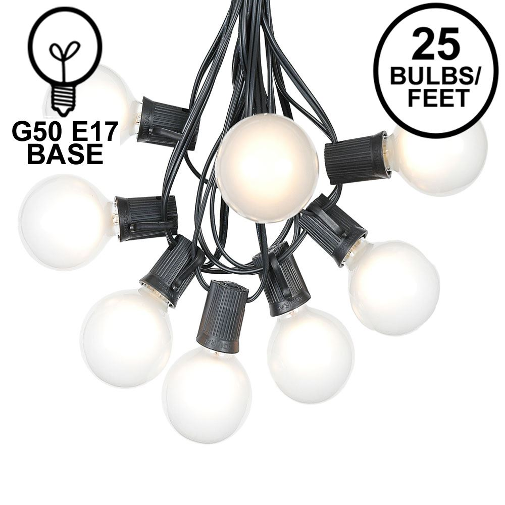 Picture of 25 G50 Globe Light String Set with Satin White Bulbs on Black Wire
