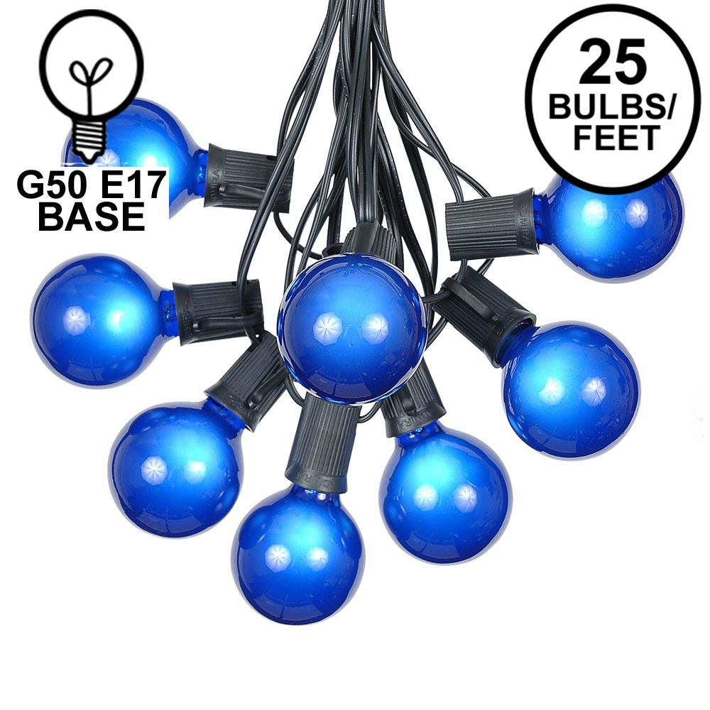 Picture of 25 G50 Globe Light String Set with Blue Bulbs on Black Wire