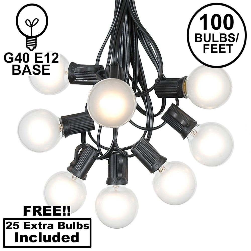 Picture of 100 G40 Globe String Light Set with Frosted White Bulbs on Black Wire