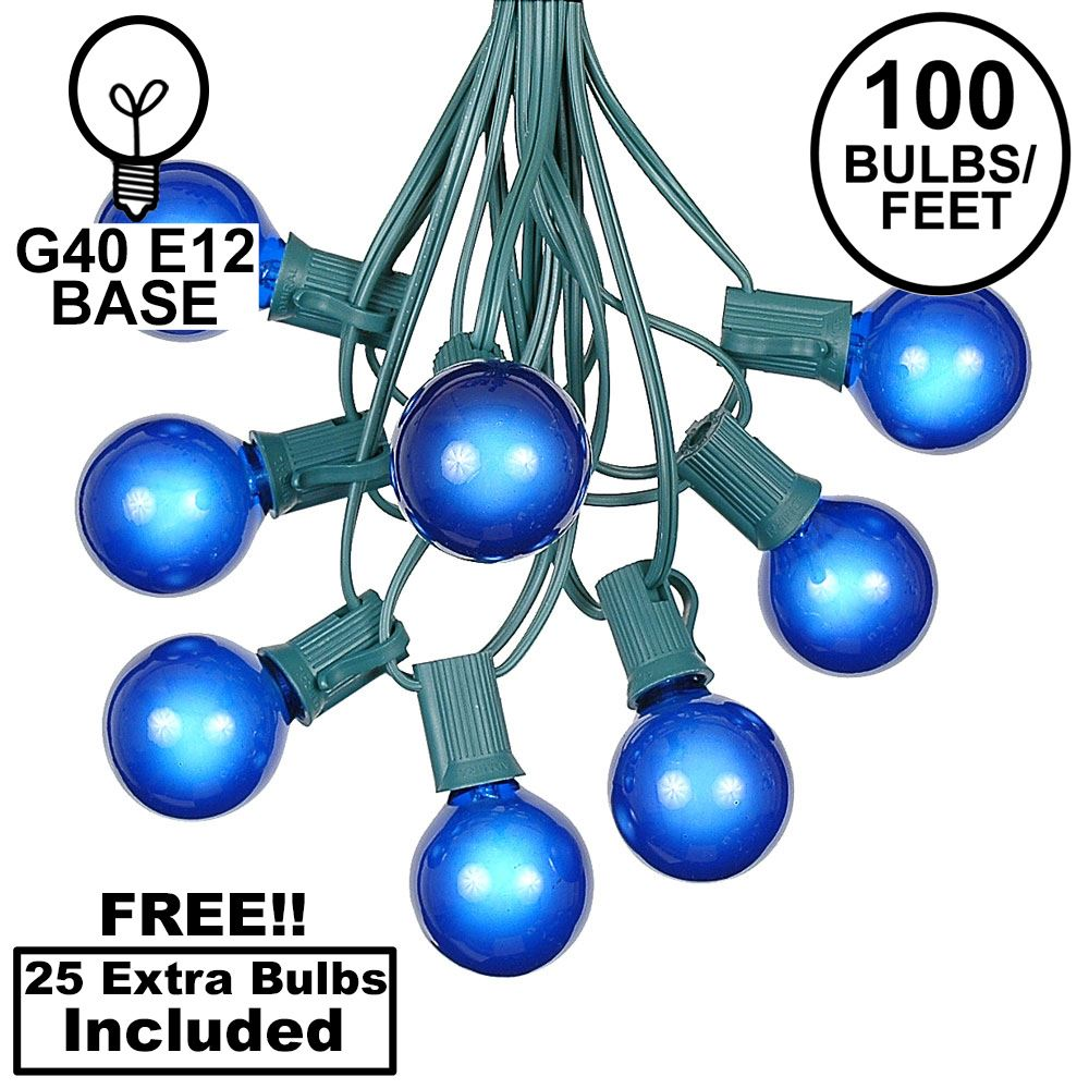 Picture of 100 G40 Globe String Light Set with Blue Bulbs on Green Wire