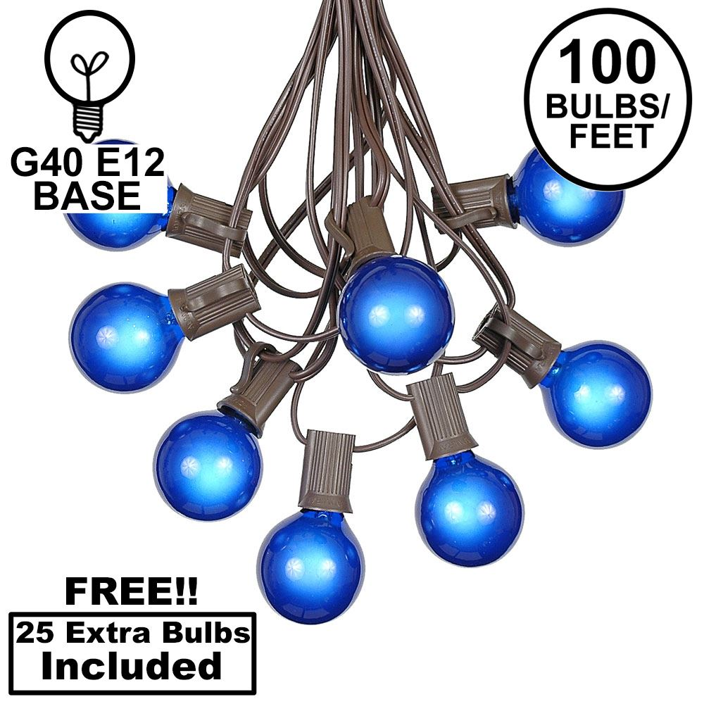Picture of 100 G40 Globe String Light Set with Blue Bulbs on Brown Wire