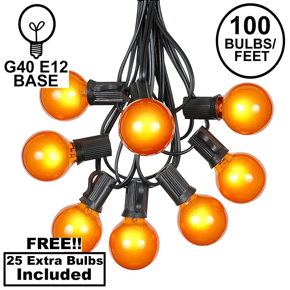 Picture of 100 G40 Globe String Light Set with Orange Bulbs on Black Wire