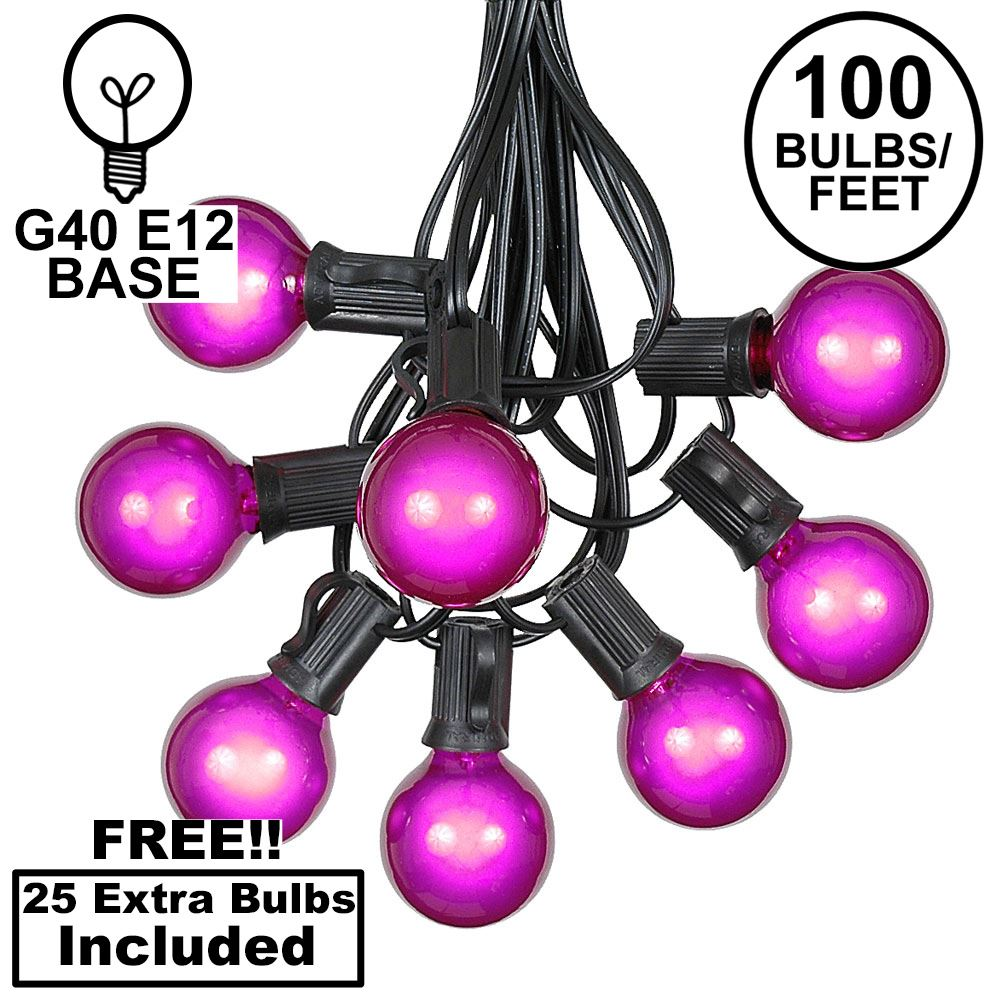 Picture of 100 G40 Globe String Light Set with Purple Bulbs on Black Wire