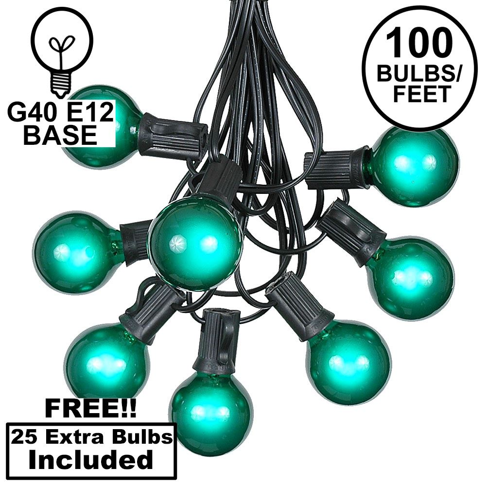 Picture of 100 G40 Globe String Light Set with Green Bulbs on Black Wire