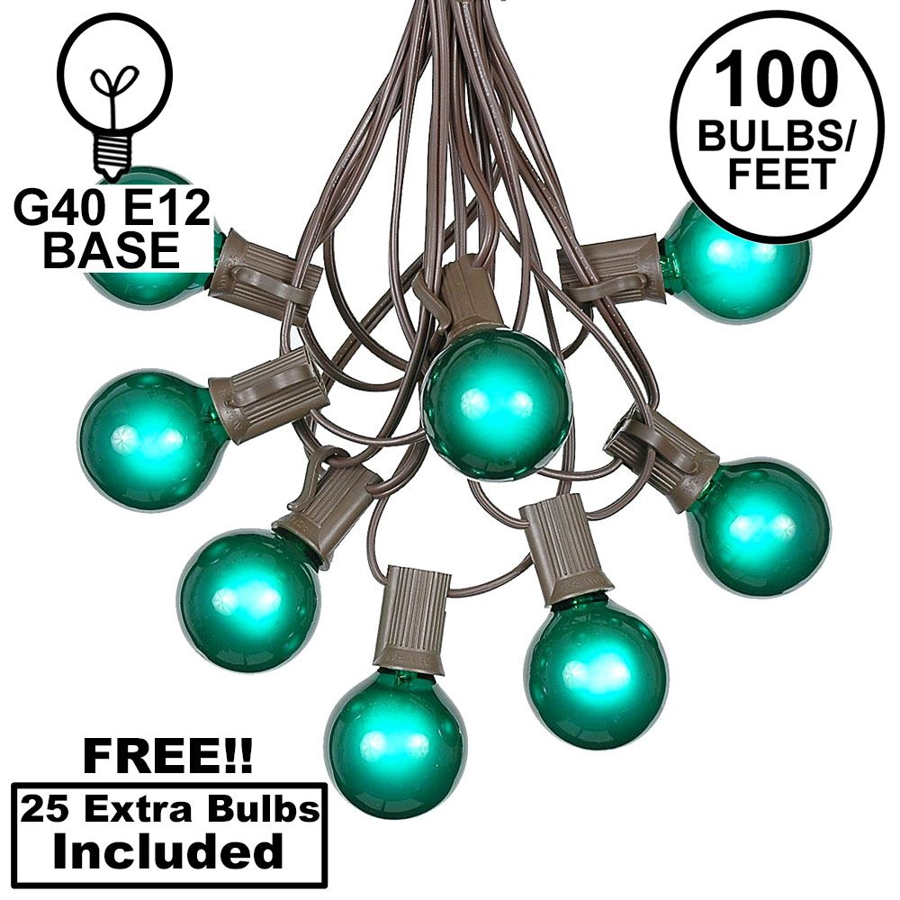 Picture of 100 G40 Globe String Light Set with Green Bulbs on Brown Wire