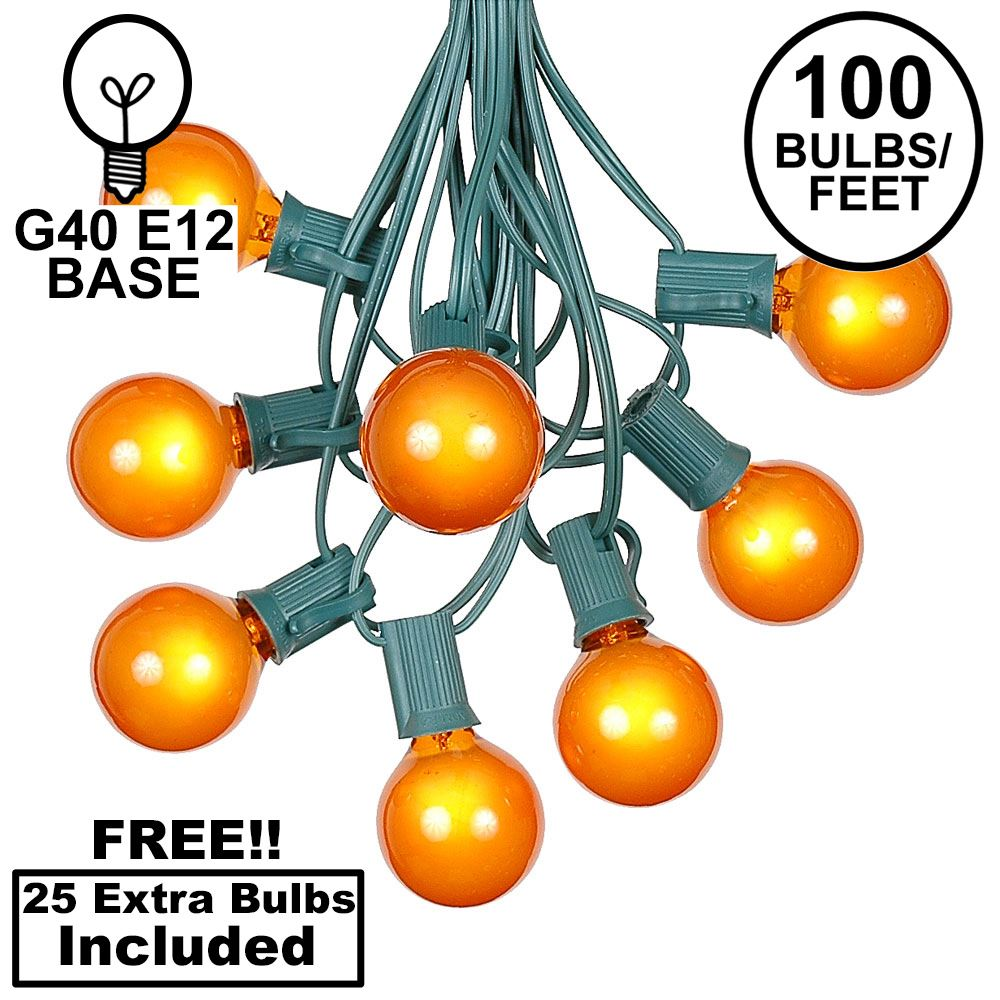 Picture of 100 G40 Globe String Light Set with Orange Bulbs on Green Wire
