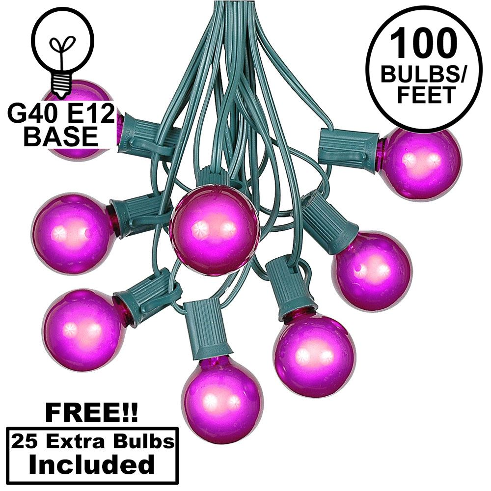 Picture of 100 G40 Globe String Light Set with Purple Bulbs on Green Wire