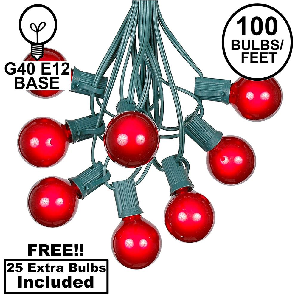 Picture of 100 G40 Globe String Light Set with Red Bulbs on Green Wire