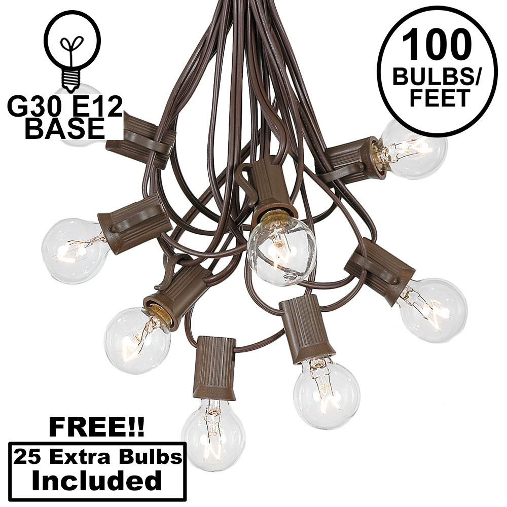 Picture of 100 G30 Globe String Light Set with Clear Bulbs on Brown Wire