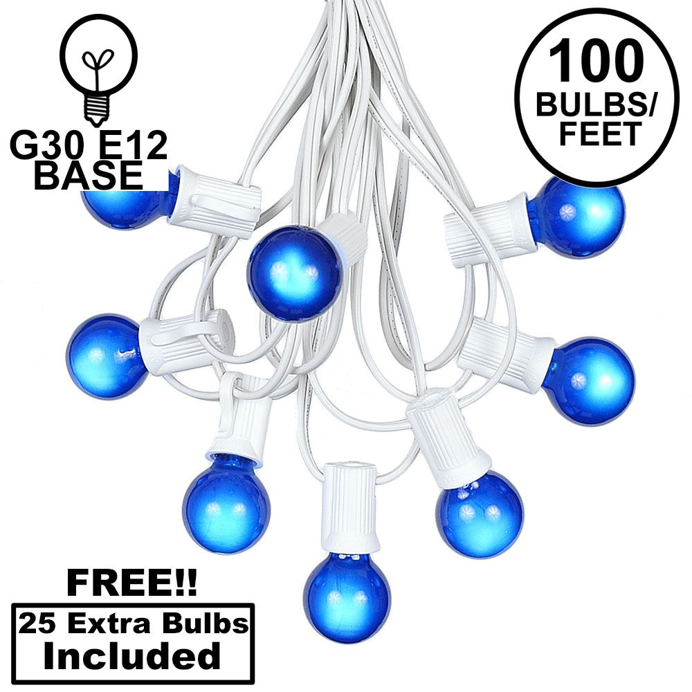 Picture of 100 G30 Globe String Light Set with Blue Satin Bulbs on White Wire