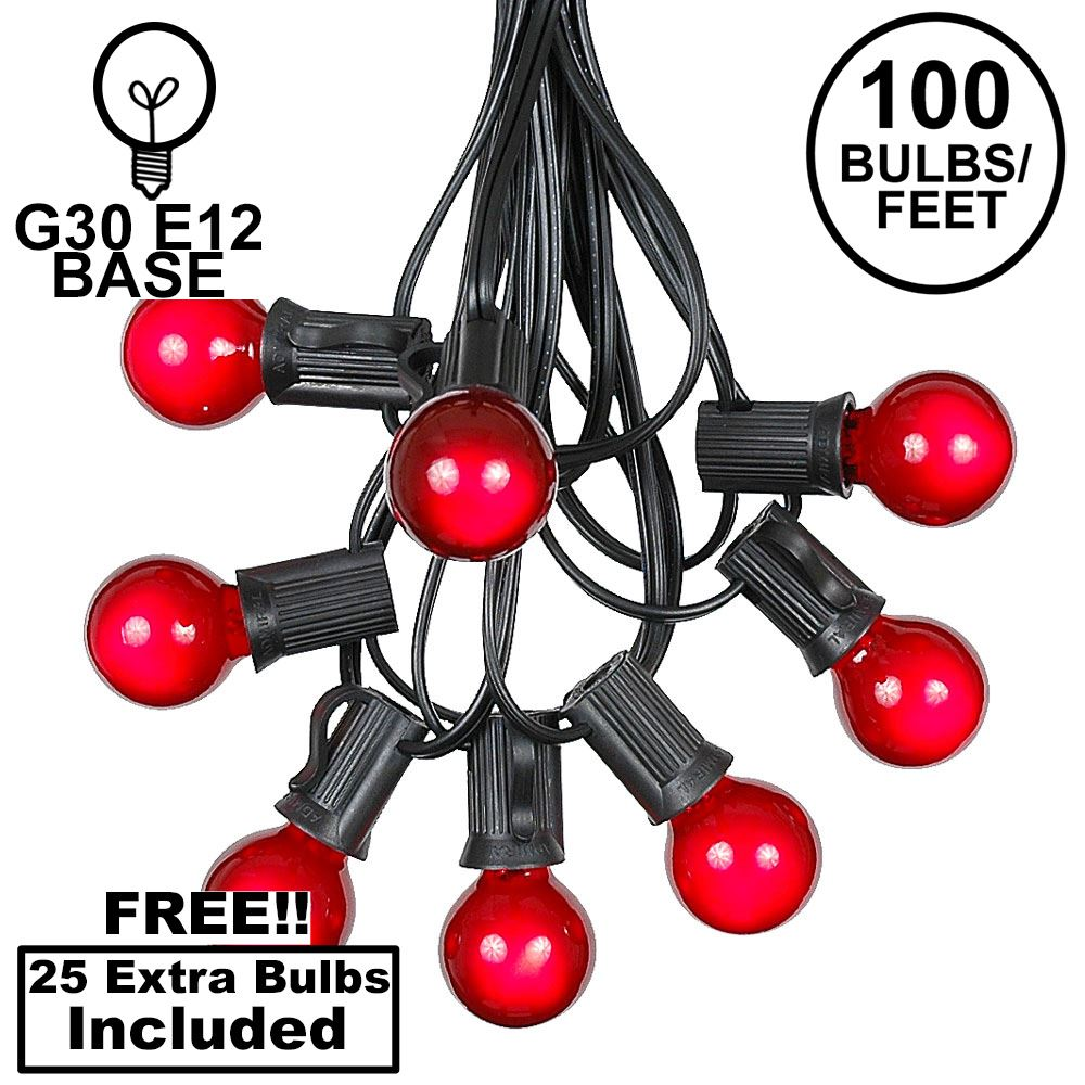 Picture of 100 G30 Globe String Light Set with Red Satin Bulbs on Black Wire