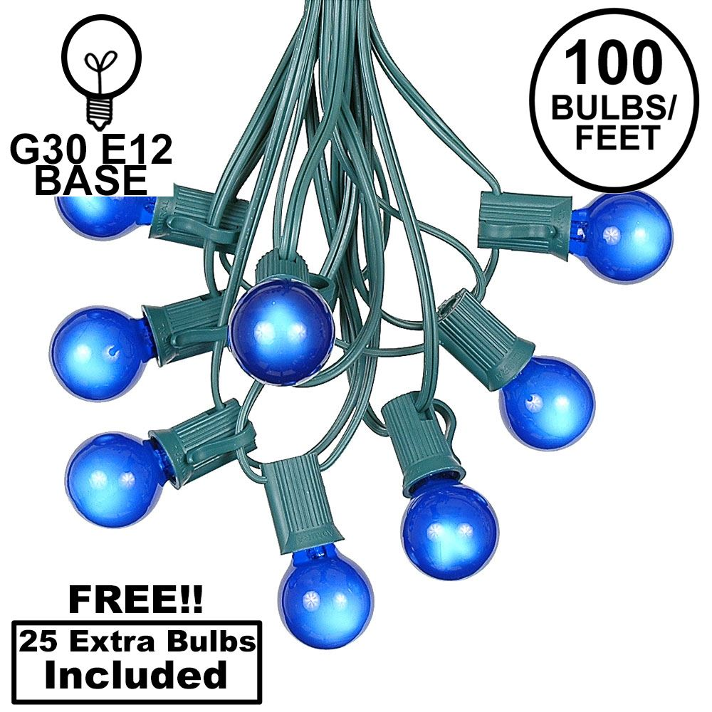 Picture of 100 G30 Globe String Light Set with Blue Satin Bulbs on Green Wire