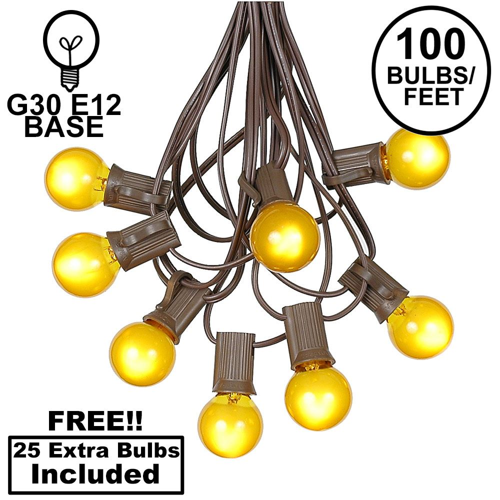 Picture of 100 G30 Globe String Light Set with Yellow Satin Bulbs on Brown Wire