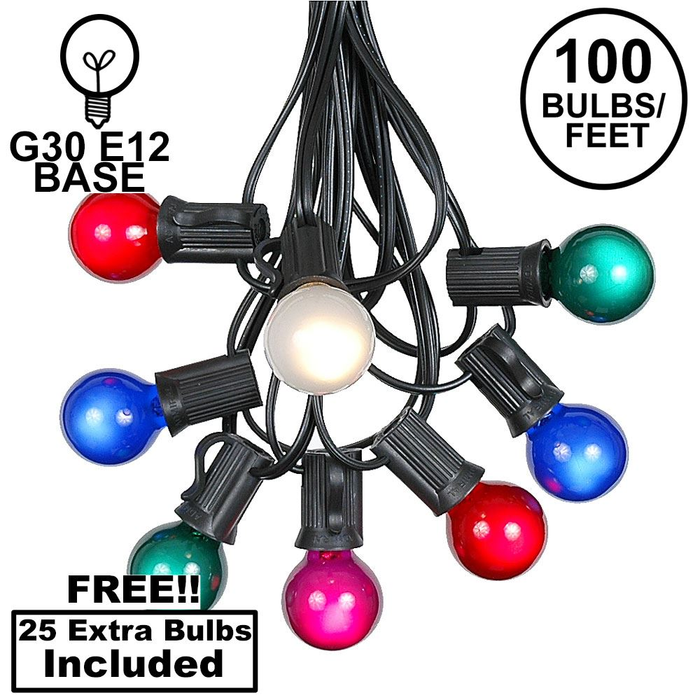 Picture of 100 G30 Globe String Light Set with Multi Colored Satin Bulbs on Black Wire