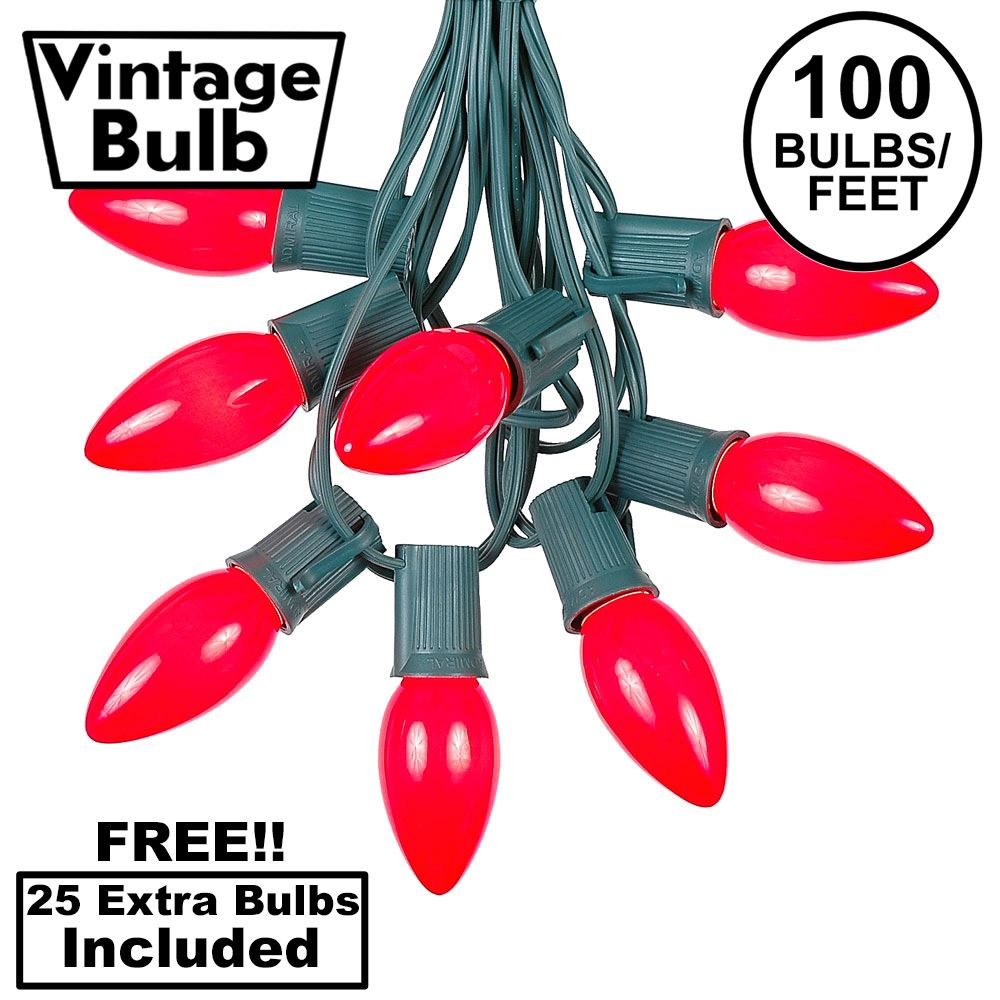 Picture of 100 C9 Ceramic Christmas Light Set - Red - Green Wire