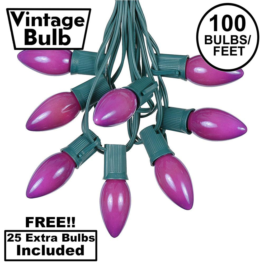 Picture of 100 C9 Ceramic Christmas Light Set - Purple - Green Wire