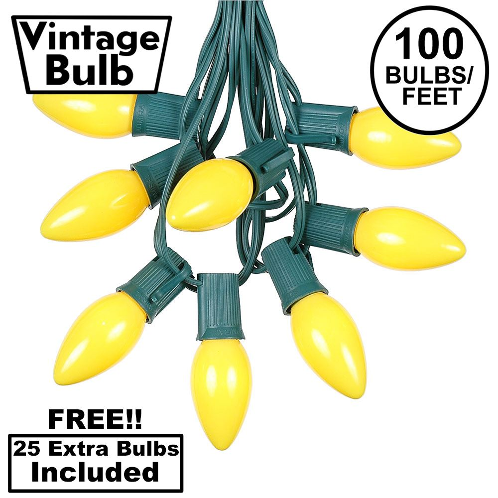 Picture of 100 C9 Ceramic Christmas Light Set - Yellow - Green Wire
