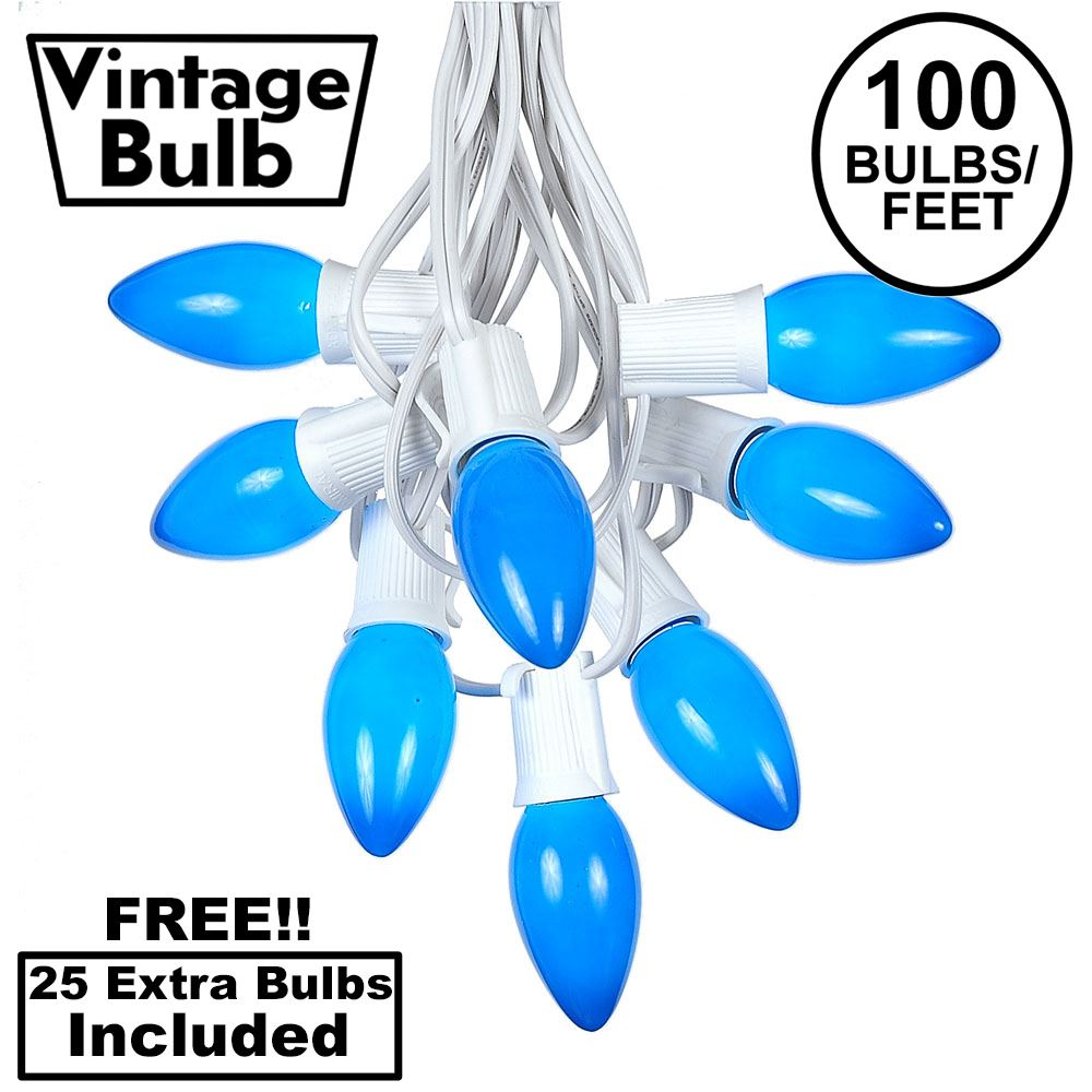Picture of 100 C9 Ceramic Christmas Light Set - Blue - White Wire