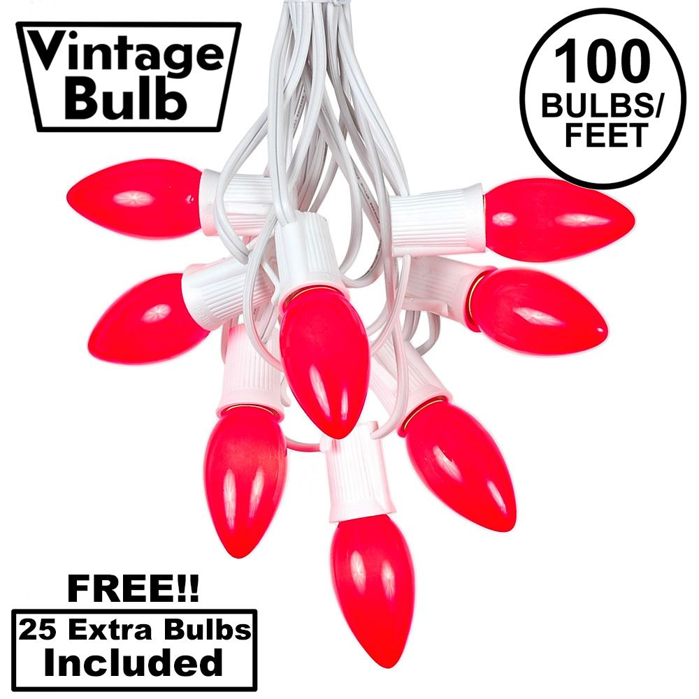 Picture of 100 C9 Ceramic Christmas Light Set - Red - White Wire