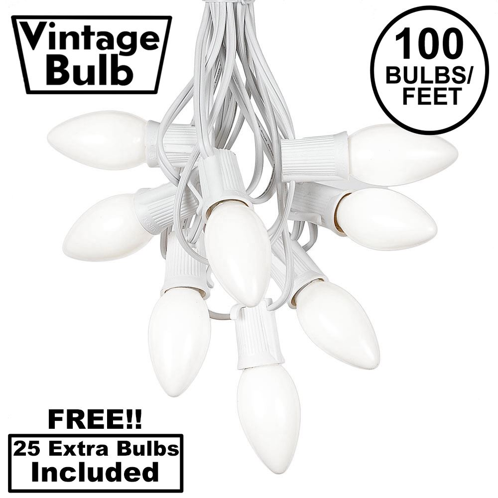 Picture of 100 C9 Ceramic Christmas Light Set - White - White Wire