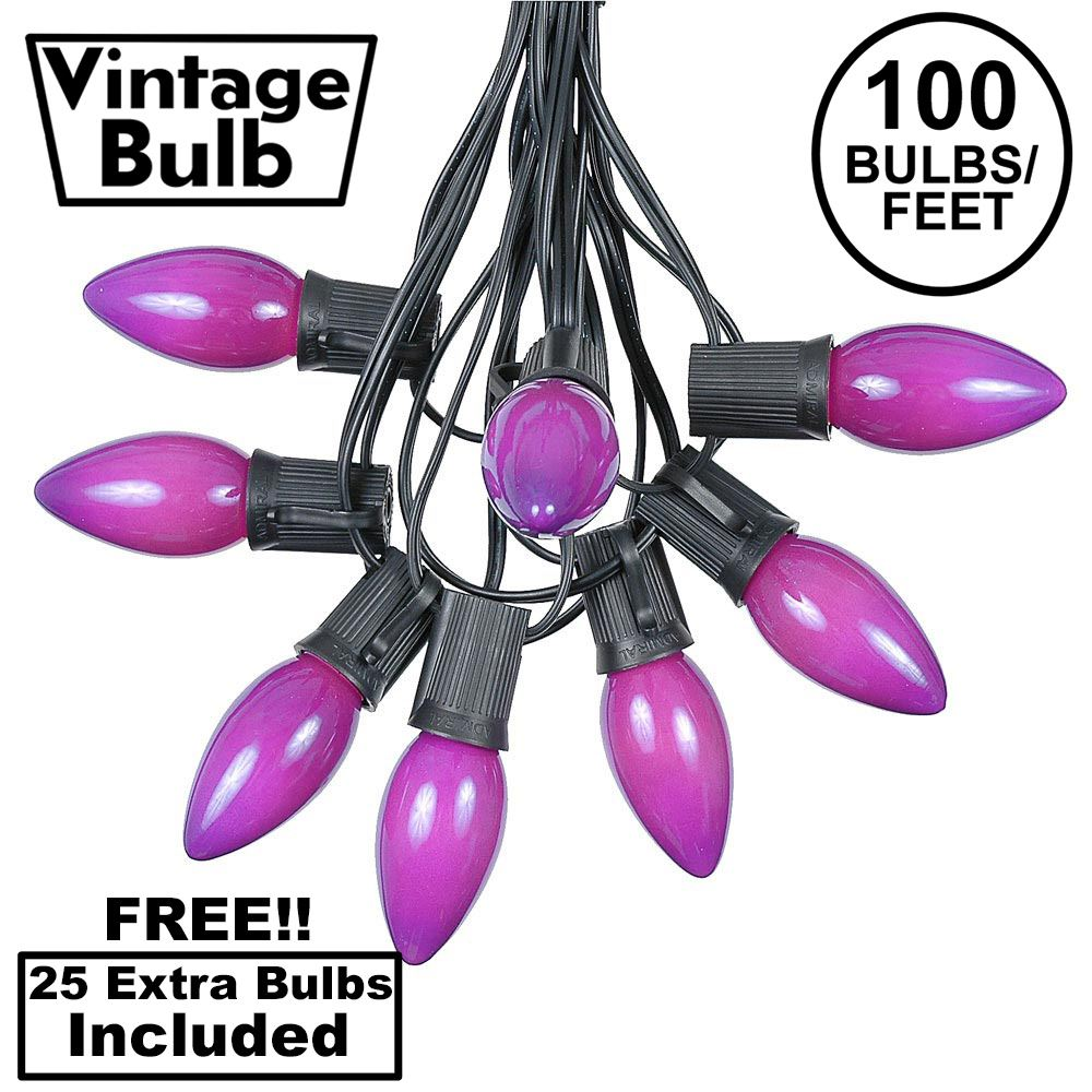 Picture of 100 C9 Ceramic Christmas Light Set - Purple - Black Wire