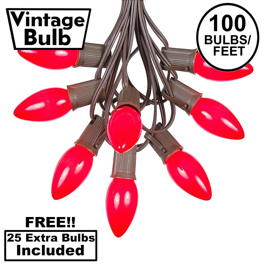 Picture of 100 C9 Ceramic Christmas Light Set - Red - Brown Wire