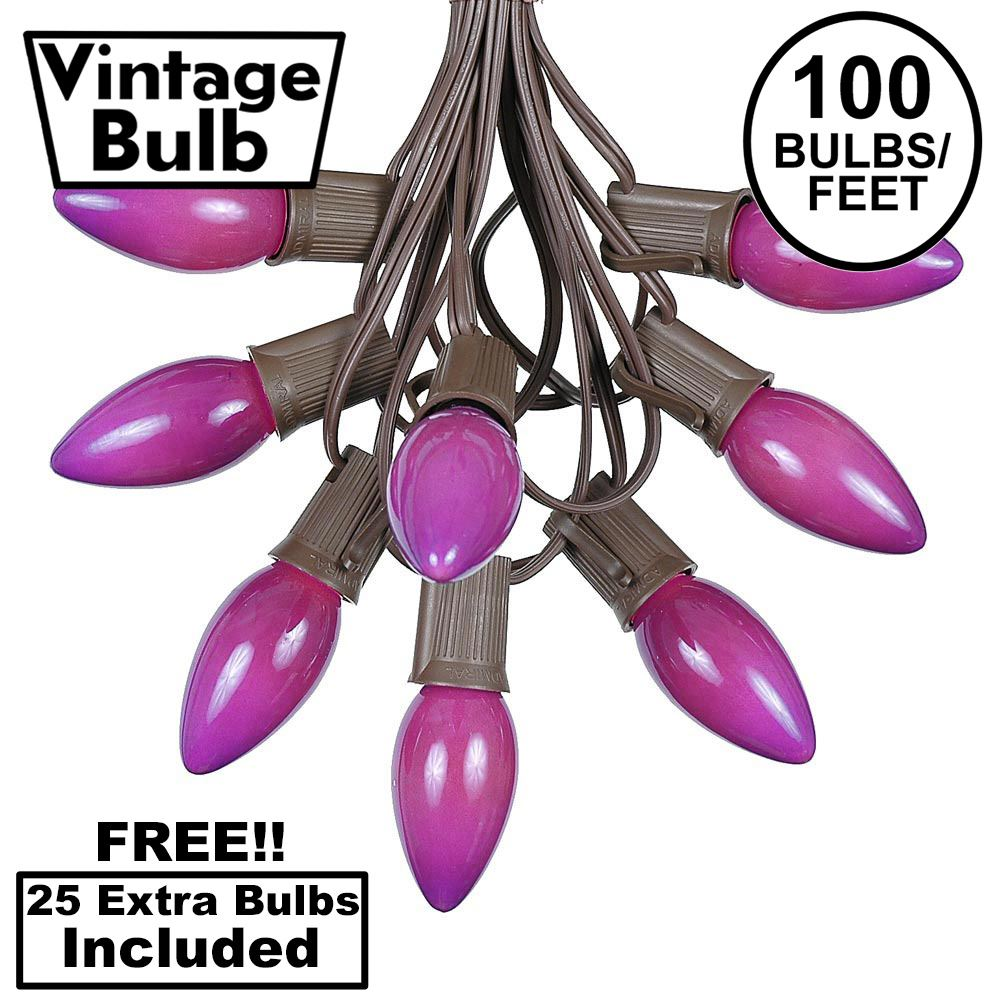 Picture of 100 C9 Ceramic Christmas Light Set - Purple - Brown Wire