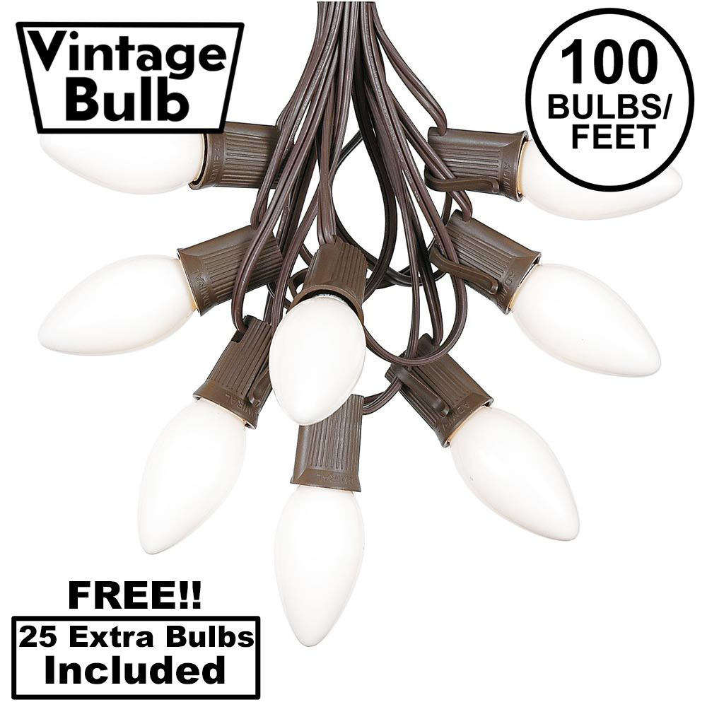 Picture of 100 C9 Ceramic Christmas Light Set - White - Brown Wire