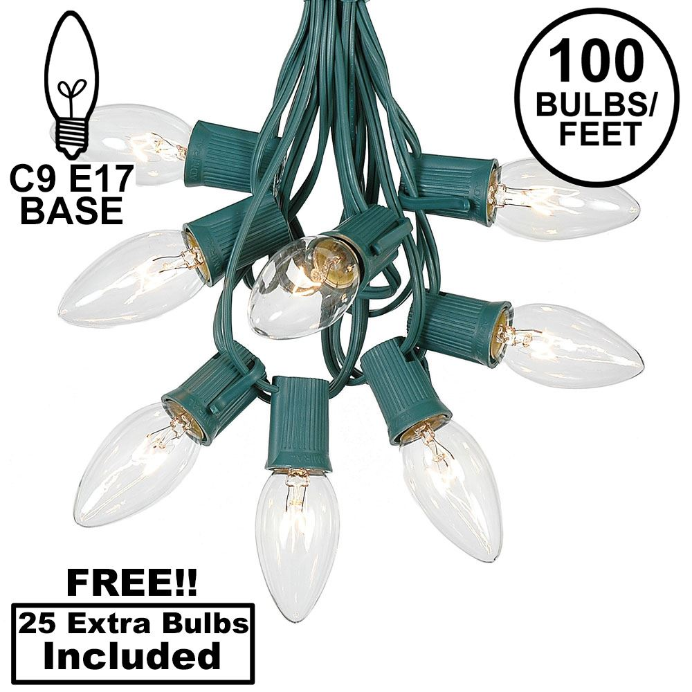 Picture of 100 C9 Christmas Light Set - Clear Bulbs - Green Wire