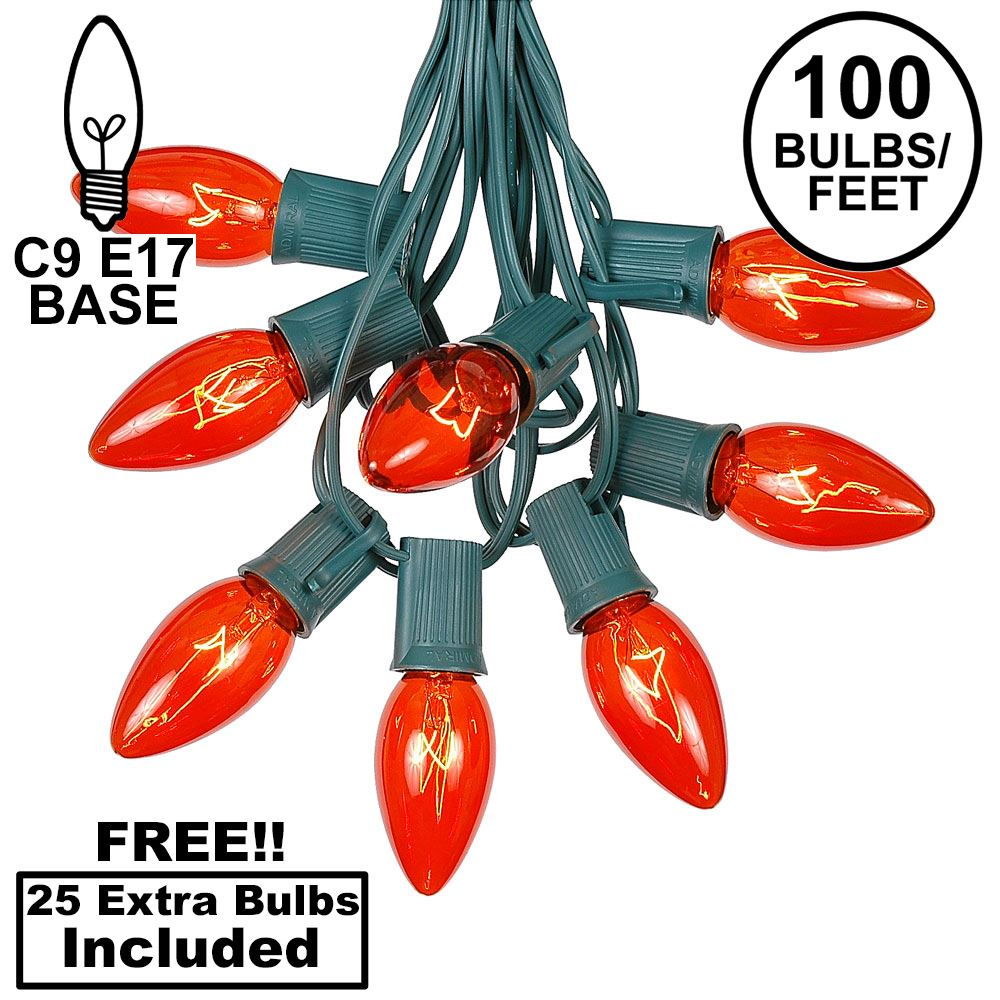 Picture of 100 C9 Christmas Light Set - Orange Bulbs - Green Wire
