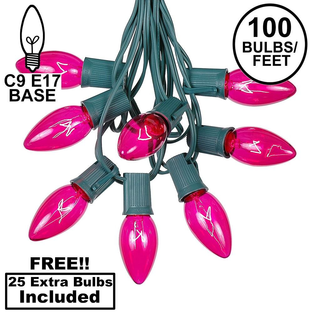 Picture of 100 C9 Christmas Light Set - Pink Bulbs - Green Wire